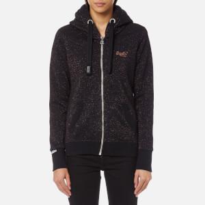 Superdry Women's Orange Label Sparkle Ziphood Sweatshirt - Black Grindle/Copper Sparkle