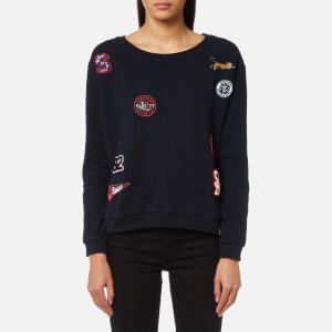 Superdry Women's Varsity Badge Crew Neck Sweatshirt - Captain Navy