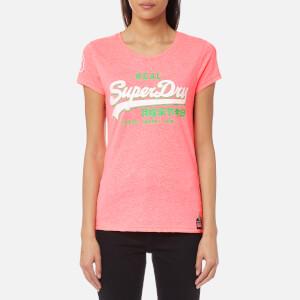 Superdry Women's Premium Goods Tri Entry T-Shirt - Fluro Pink Snowy