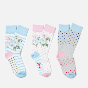 Joules Women's Brilliant Bamboo 3 Pack Sock Set - Floral