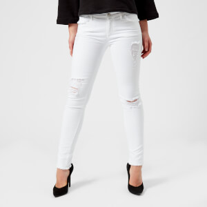 Emporio Armani Women's Distressed Skinny Jeans - White