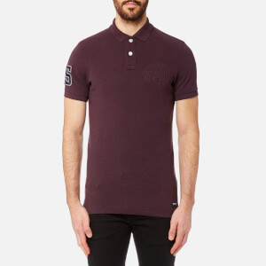 Superdry Men's Classic Emboss Pique Short Sleeve Polo Shirt - Port Marl