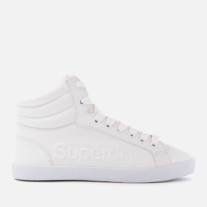 Superdry Women's Super Sleek Logo Hi-Top Trainers - Optic White