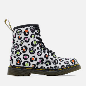 Dr. Martens Kids' Delaney Leopard Canvas Lace Low Boots - White