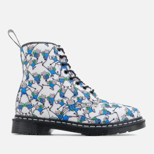 Dr. Martens Toddlers' Castel Canvas Finn Print Lace Low Boots - Blue/White: Image 1