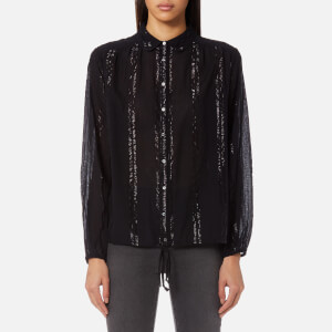 Maison Scotch Women's Sheer Cotton Lurex Tunic Top - Black