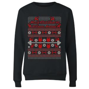 Merry Christmas Ya' Fitness Animal Women's Sweatshirt - Black
