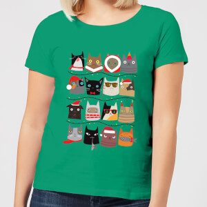 Christmas Cats Women's T-Shirt - Kelly Green
