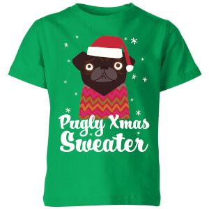 Pugly xmas Sweater Kids' T-Shirt - Kelly Green