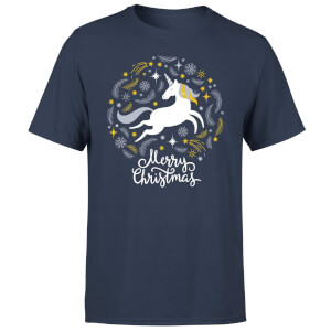 Unicorn Christmas T-Shirt - Navy