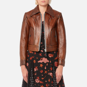 Coach Women's Landscape Leather Jacket - Dark Teak
