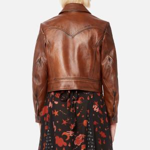 Coach Women's Landscape Leather Jacket - Dark Teak: Image 2