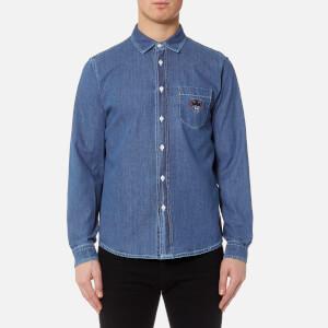 KENZO Men's Denim Long Sleeve Shirt - Navy Blue