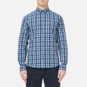Michael Kors Men's Slim Fit Yarn Dyed Madras Check Shirt - Admiral Blue
