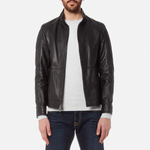Michael Kors Men's Nappa Leather Racer Jacket - Black
