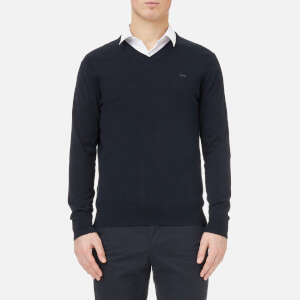 Michael Kors Men's Sleek Cotton V-Neck Sweater - Midnight