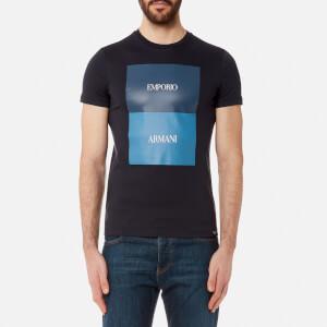 Emporio Armani Men's Square Print T-Shirt - Blu Navy