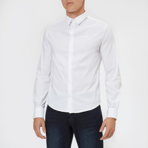 Emporio Armani Men's Small Logo Long Sleeve Shirt - Bianco Ottico
