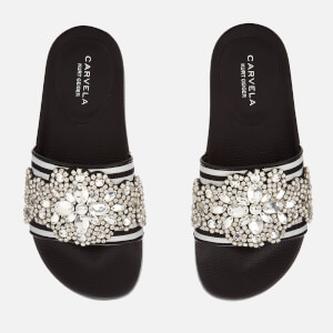 Carvela Women's Kath Slide Sandals - Black/White
