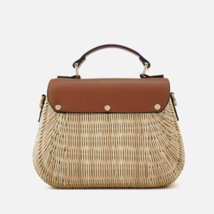 Dune Women's Wicker Bag with Leather Flap - Tan: Image 2