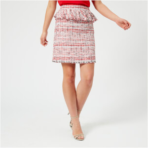 Karl Lagerfeld Women's Captain Karl Boucle Skirt - Red