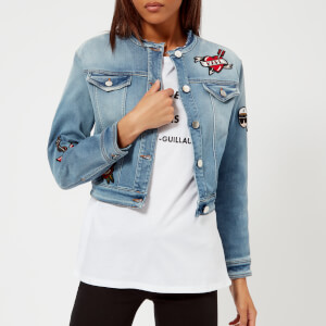 Karl Lagerfeld Women's Captain Karl Patch Denim Jacket - Blue