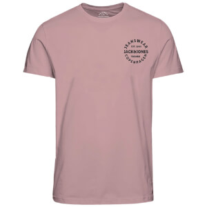 Jack & Jones Men's Originals Art Chest Print T-Shirt - Silver Pink