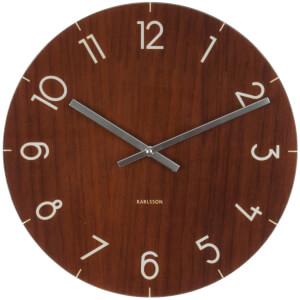 Karlsson Small Glass Wall Clock - Dark Wood