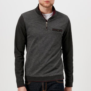 Ted Baker Men's Hownd Half Zip Knitted Jumper - Grey