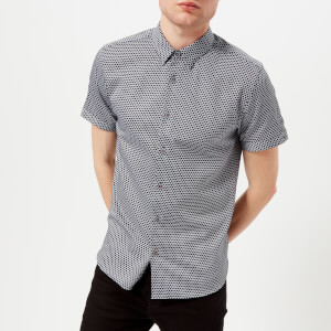 Ted Baker Men's Gudvu Geo Print Short Sleeve Shirt - Navy