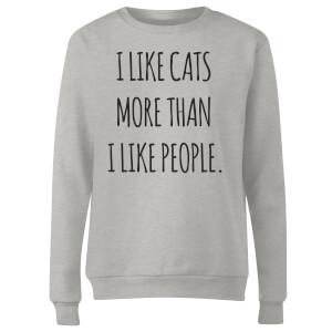 I Like Cats More Than People Women's Sweatshirt - Grey