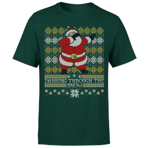 Dabbing through the snow Fair Isle T-Shirt - Forest Green