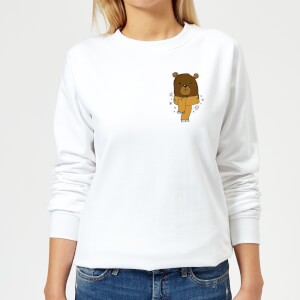 Christmas Bear Pocket Women's Sweatshirt - White