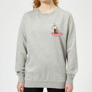 Christmas Unicorn Pocket Women's Sweatshirt - Grey