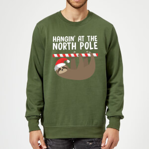 Pull de Noël Homme Hangin' At The North Pole - Vert