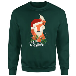 Christmas Fox Hello Christmas Sweatshirt - Forest Green