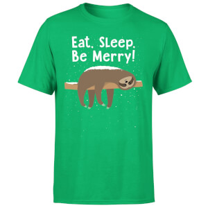 Eat, Sleep, Be Merry T-Shirt - Kelly Green