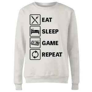 Eat Sleep Game Repeat Women's Sweatshirt - White