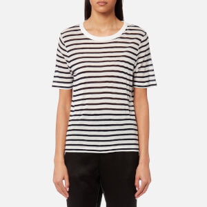 T by Alexander Wang Women's Striped Slub Jersey Cropped Short Sleeve T-Shirt - Ink And Ivory