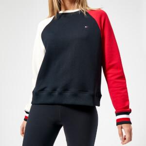 Tommy Hilfiger Women's April Round Neck Sweatshirt - Peacoat/Snow White/Crimson