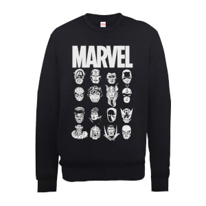 Marvel Multi Heads Men's Black Sweatshirt