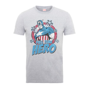Marvel Comics Captain Amercia Full Time Hero Men's Grey T-Shirt