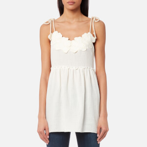 See By Chloé Women's Embellished Cheesecloth Top - White Powder