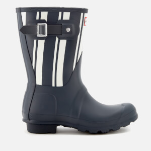 Hunter Women's Original Garden Stripe Short Wellies - Navy/White
