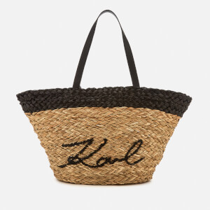 Karl Lagerfeld Women's K/Ikonik Straw Shopper Bag - Natural