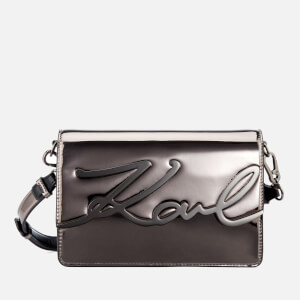 Karl Lagerfeld Women's K/Signature Gloss Shoulder Bag - Nickel