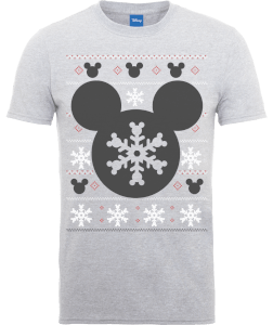 Disney Mickey Mouse Mickey Christmas Men's Grey T-Shirt
