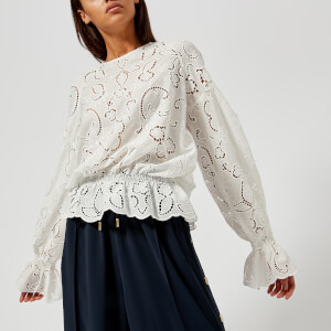 Perseverance London Women's Lily Cut Out Embroidery Crepe Blouse - Off White