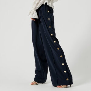 Perseverance London Women's Slinky Crepe Side Gold Buttons Joggers - Navy