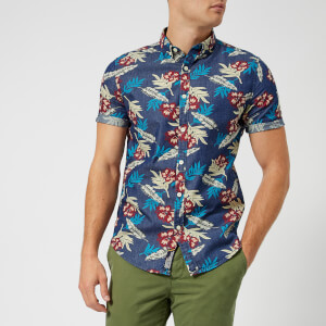 Superdry Men's Miami Loom Short Sleeve Shirt - Shore Break Hibiscus